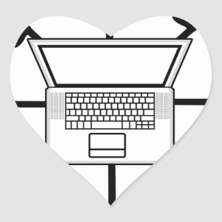 Multi-mind computer. Business Network. E-learning Heart Sticker