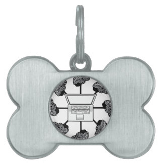 Multi-mind computer. Business Network. E-learning Pet Name Tag