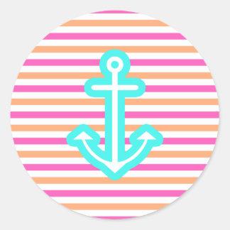 Multi Nautical Aqua Anchor Classic Round Sticker
