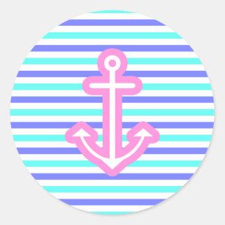 Multi Nautical Pink Anchor Classic Round Sticker
