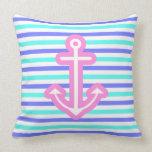 Multi Nautical Pink Anchor Throw Pillow