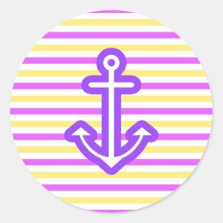 Multi Nautical Purple Anchor Classic Round Sticker