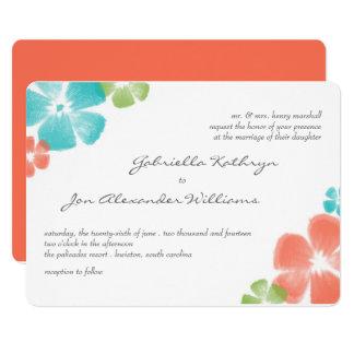 Multi Papaya Watercolor Flowers Wedding Invite