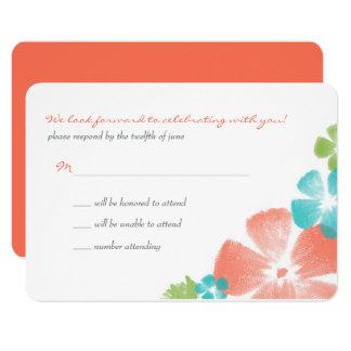Multi Papaya Watercolor Flowers Wedding RSVP Card