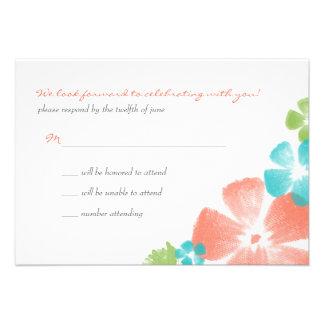 Multi Papaya Watercolor Flowers Wedding RSVP Custom Invitations