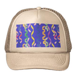 Multi Party Streamers on Neon Blue Trucker Hat