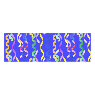 Multi Party Streamers on Neon Blue Mini Business Card