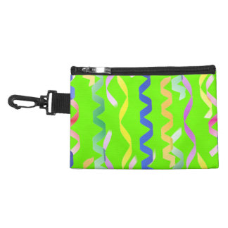 Multi Party Streamers on Neon Green Accessory Bags