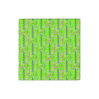 Multi Party Streamers on Neon Green Stone Magnet