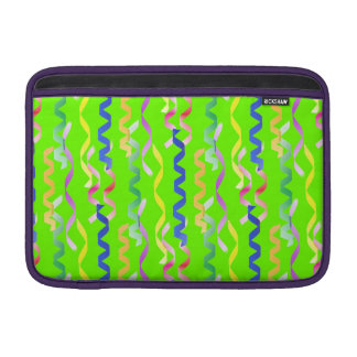 Multi Party Streamers on Neon Green Sleeve For MacBook Air