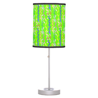 Multi Party Streamers on Neon Green Desk Lamps