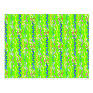 Multi Party Streamers on Neon Green Postcard