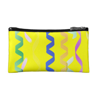 Multi Party Streamers on Neon Yellow Cosmetic Bags