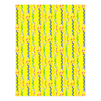Multi Party Streamers on Neon Yellow Postcard