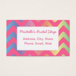 Multi Pastel Chevron Pattern Business Card