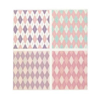 Multi pastel color plaid pattern girly vintage fun note pad