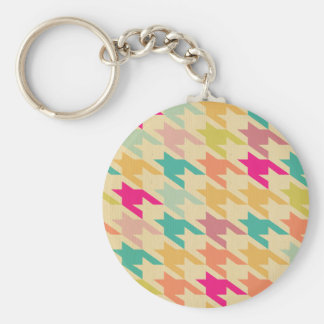 Multi pastel fall color herringbone pattern chic keychains