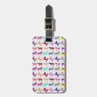 Multi-Pattern Cute Horses Luggage Tag