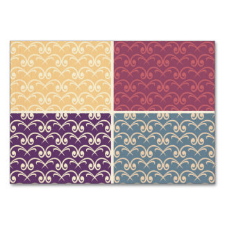 Multi pattern damask color retro trendy chic roses table cards