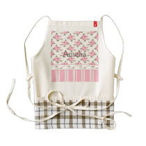 Multi pattern,floral,stripes,abstract,pink,white, zazzle HEART apron