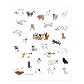 Multi-Perros - pata de la atracción Tarjetas Postales