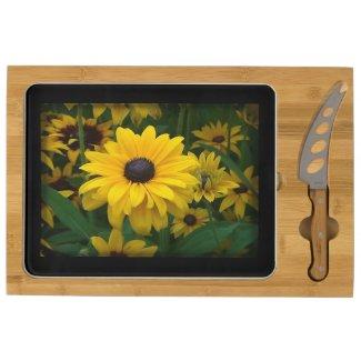 Multi-Petal Yellow Flower Rectangular Cheese Board