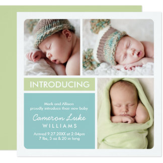 Multi-Photo Birth Announcement Card | Aqua, Green