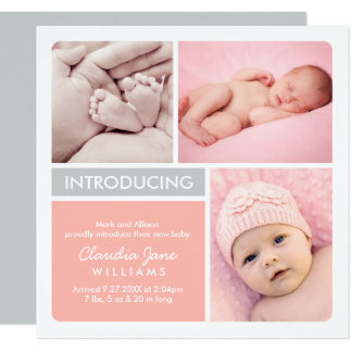 Multi-Photo Birth Announcement Card | Blush, Gray