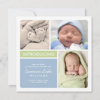Multi-Photo Birth Announcement Card | Green Blue