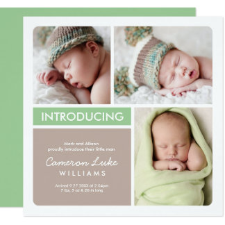Multi-Photo Birth Announcement Card | Green Taupe