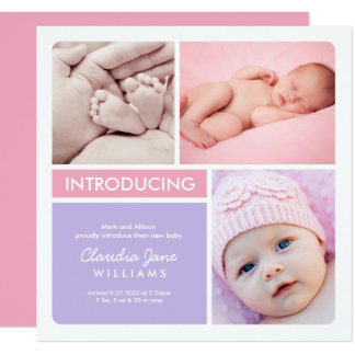 Multi-Photo Birth Announcement Card | Pink Purple