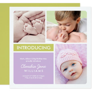 Multi-Photo Birth Announcement Card | Violet Green