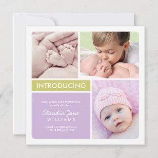 Multi-Photo Birth Announcement Card | Violet Green