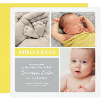 Multi-Photo Birth Announcement Card | Yellow Gray