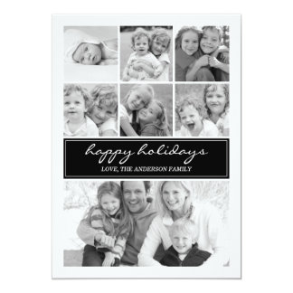 Multi Photo Collage Holiday Photocard - Black Card