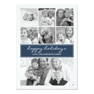 Multi Photo Collage Holiday Photocard - Navy /Blue Card