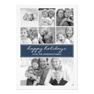 Multi Photo Collage Holiday Photocard - Navy Blue Announcements