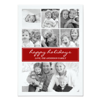 Multi Photo Collage Holiday Photocard - Red Card