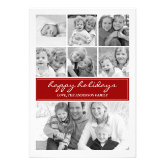 Multi Photo Collage Holiday Photocard - Red Invites