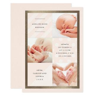 Multi photo faux foil pattern birth announcement