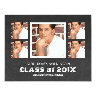 Multi Photo Graduation for Guys 4.25x5.5 Paper Invitation Card