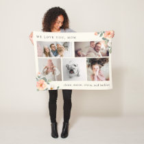 Multi Photo Grid for Mother with Peach Flowers Fleece Blanket