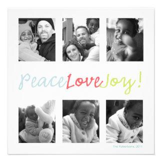 Multi Photo Holiday Photo Card Peace Love Joy Personalized Invite