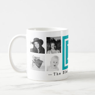 Multi Photo Personalized Monogram Bright Blue Coffee Mug
