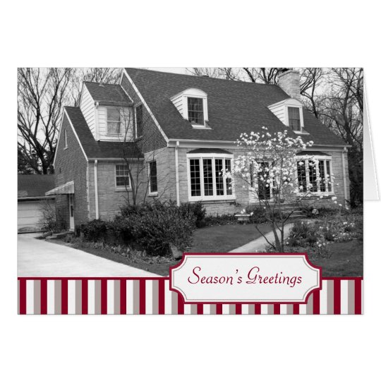 Multi photo red stripe Christmas holiday folded Card