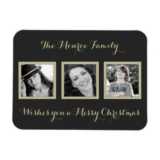 Multi-photo Simple Family Christmas Greeting Rectangle Magnet