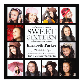Multi Photo Sweet Sixteen Party Custom Announcements