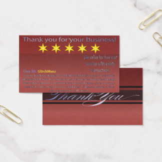 Multi Platform five star rating feedback card