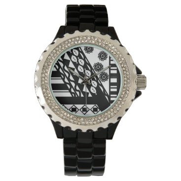 Aztec Themed Multi Print Black and White Watch