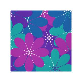 Multi Purple Blue Green Floral Wrappd Canvas Print
